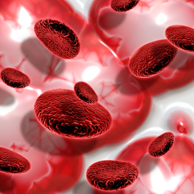 3d render of blood cells on abstract background Photo gratuit