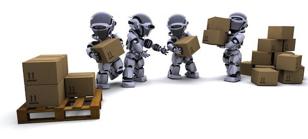 3d render of robot avec boîtes d'expédition Photo gratuit