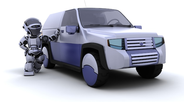3d Render Of Robot With Suv Concept Car Photo gratuit