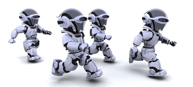 3d render de robots concurrents dans une course Photo gratuit