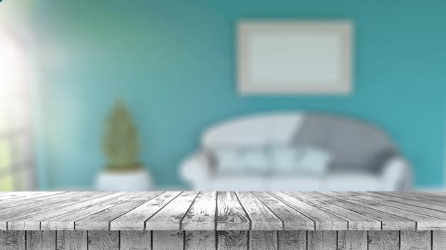 3d rendez-vous d'une table en bois donnant sur un intérieur défait de la pièce avec le soleil brillant dans la fenêtre Photo gratuit