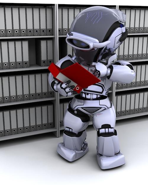 3d rendre des documents de dépôt de robot Photo gratuit