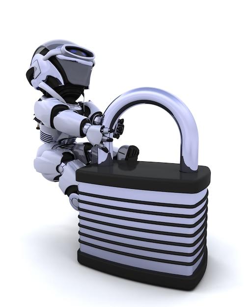 3d rendre un robot avec cadenas Photo gratuit