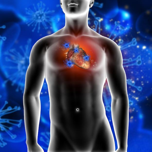 3d rendu d'un fond médical montrant des cellules de virus attaquant un coeur dans un personnage masculin Photo gratuit