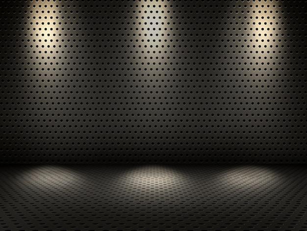 3d rendu d'un intérieur métallique avec des projecteurs Photo gratuit