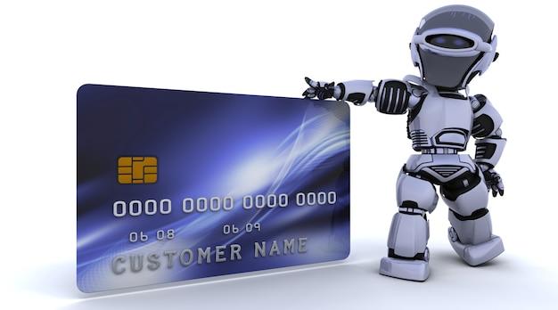 3d rendu d'un robot et d'une carte de crédit Photo gratuit