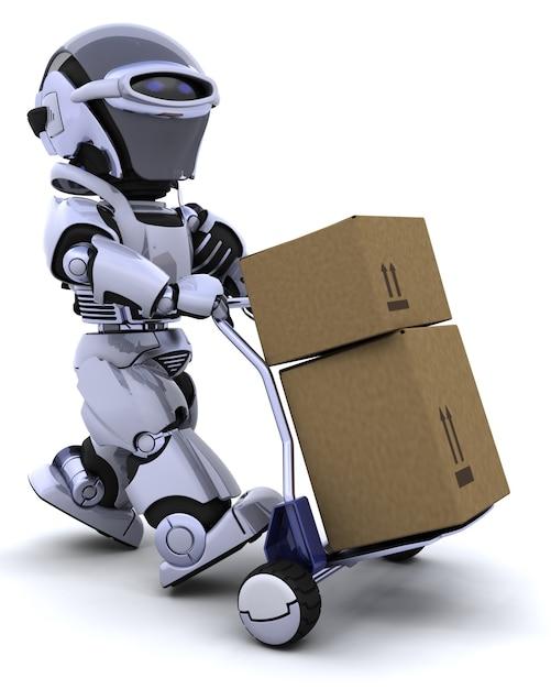 3d rendu d'un robot en déplacement des boîtes d'expédition Photo gratuit