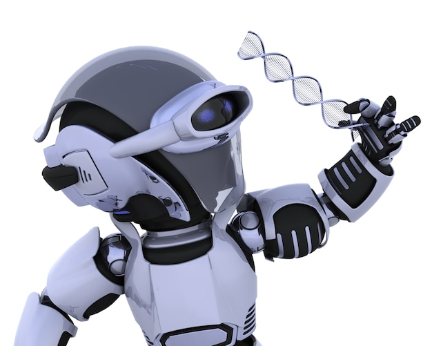 3d rendu d'un robot inspectant un brin d'adn Photo gratuit