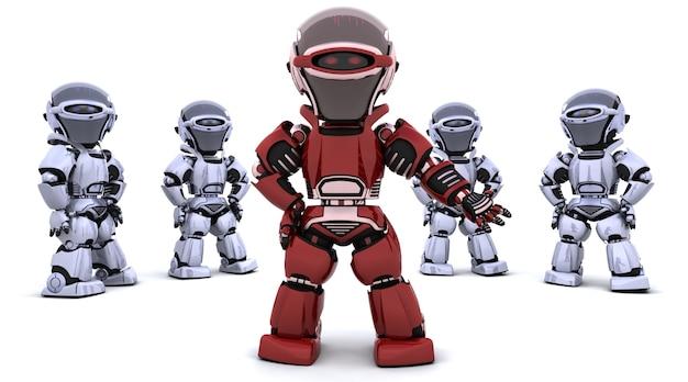 3d rendu d'un robot rouge menant une équipe Photo gratuit
