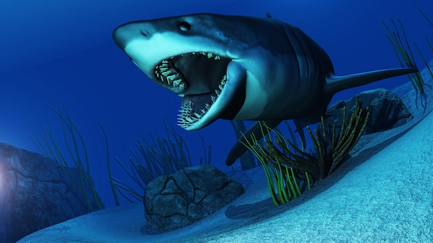 3d requin blanc nageant dans l'océan Photo gratuit