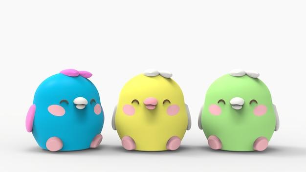 3d Rillustration Kawaii Poulet Petits Oiseaux Personnage De Dessin Animé Mignon Photo Premium