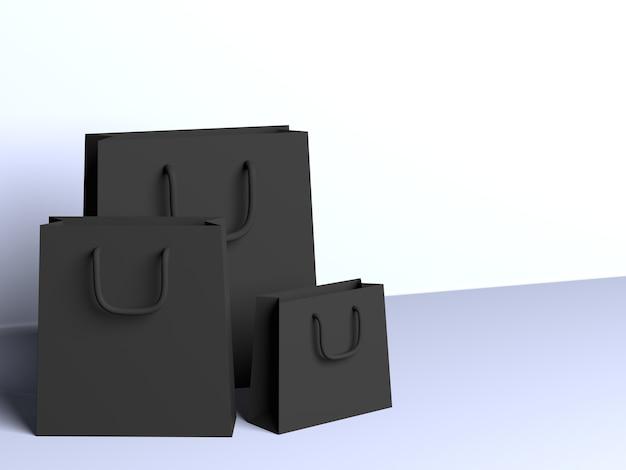 3d Sacs Noirs Avec Fond Blanc Photo Premium