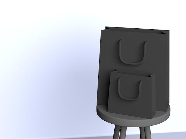3d Sacs Noirs Installés Sur Une Chaise Avec Fond Blanc Photo Premium