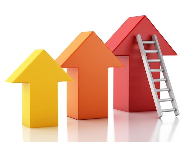 3d stair menant une flèche. concept de réussite Photo Premium