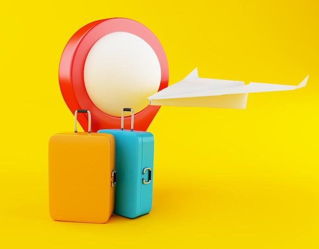 3d valise de voyage, papier avion et carte de pointeur. Photo Premium
