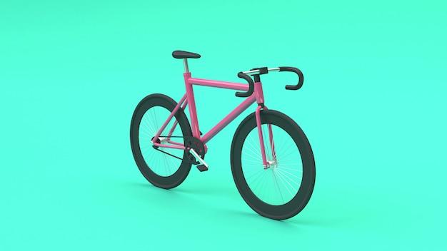 3d vélo rose rendu 3d style de bande dessinée verte Photo Premium