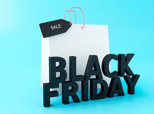 3d vendredi noir avec sac à provisions. Photo Premium