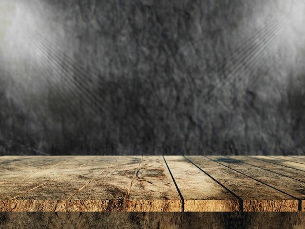 3d vieille table en bois donnant sur un mur de pierre Photo gratuit