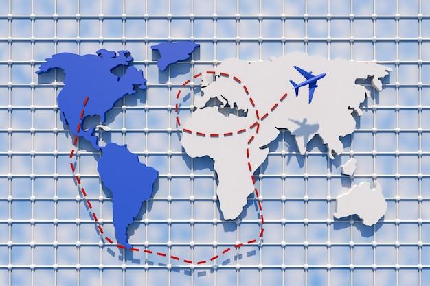 3d Voyager à Travers Le Monde En Avion. Illustration 3d. Voyager à Travers Le Monde En Avion. Concept De Voyage Dans Le Monde Photo Premium