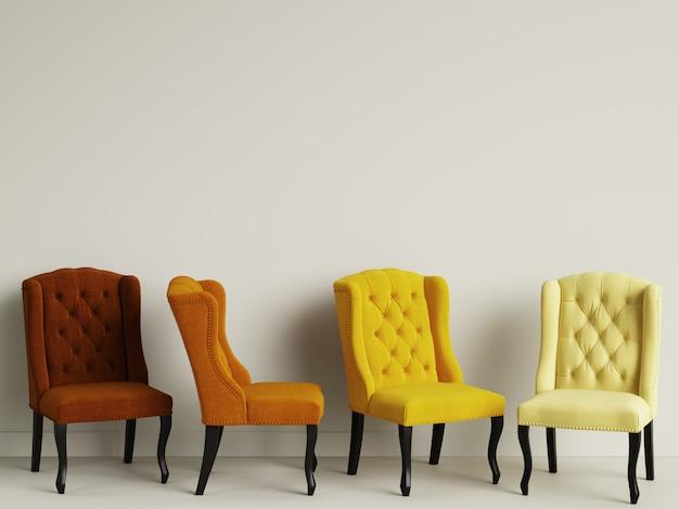 4 Chaises Dans La Chambre Avec Espace Copie. Rendu 3d Photo Premium