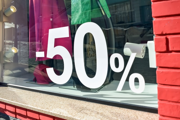 50% de réduction vente discount promotion affiche de vente, bannière Photo Premium