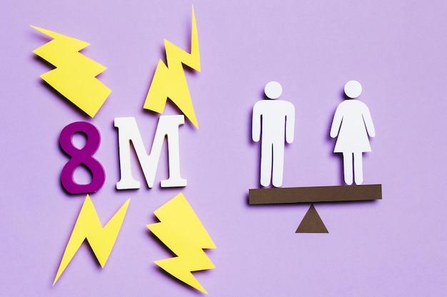 8 Mars Et équilibre Avec Femme Et Homme Photo gratuit