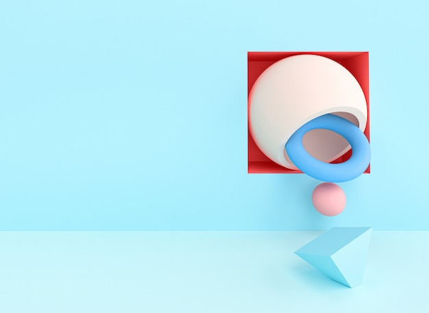 Abstract 3d render d'image d'une série d'objets aux couleurs pastel. Photo Premium