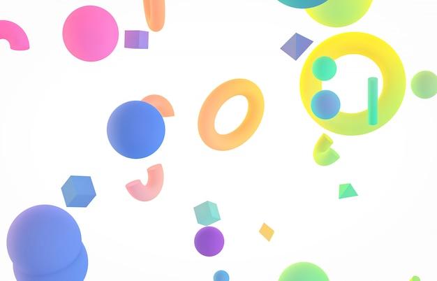 Abstrait art 3d coloré. forme de forme géométrique holographique flottant sur fond isolé blanc. style de memphis. Photo Premium