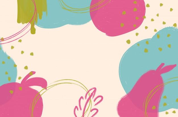 Abstrait coloré avec des coups de pinceau et des formes Photo Premium