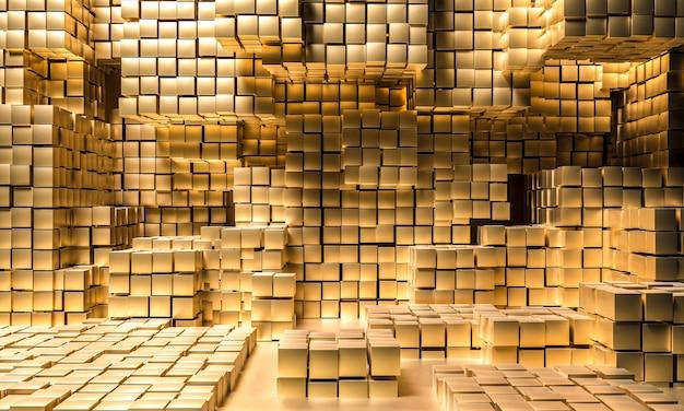 Abstrait De Cubes De Couleur Or. Photo Premium