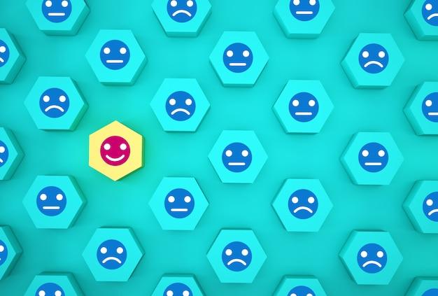 Abstrait de l'émotion du visage: bonheur et tristesse, unique, penser différemment, individuellement et se démarquer de la foule. hexagone en bois avec icône sur fond bleu. Photo Premium