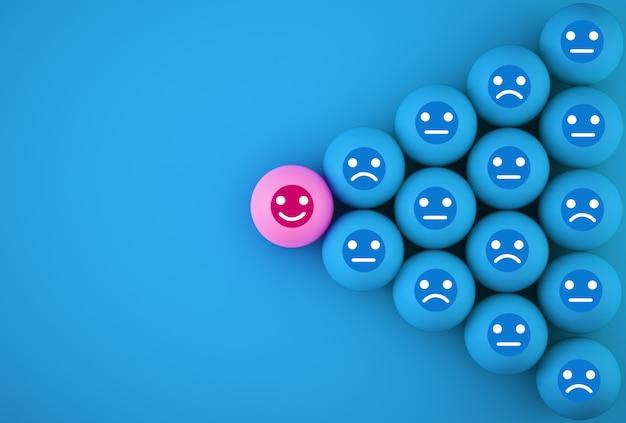 Abstrait De L'émotion Du Visage: Bonheur Et Tristesse, Unique, Penser Différemment, Individuellement Et Se Démarquer De La Foule. Sphérique Avec Icône Sur Fond Bleu. Photo Premium