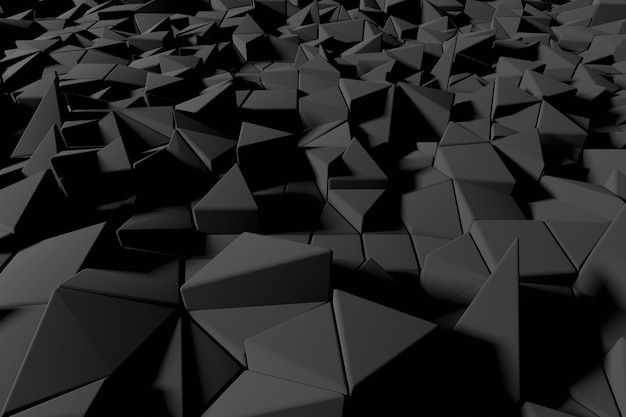 Abstrait Futuriste Low Poly De Triangles Noirs. Rendu 3d Noir Minimaliste. Photo Premium