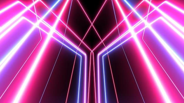 Abstrait lignes rougeoyantes. néons Photo Premium