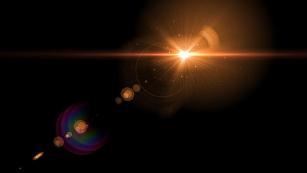 Abstrait lumière rougeoyante soleil éclaté avec flare de lentille numérique Photo Premium