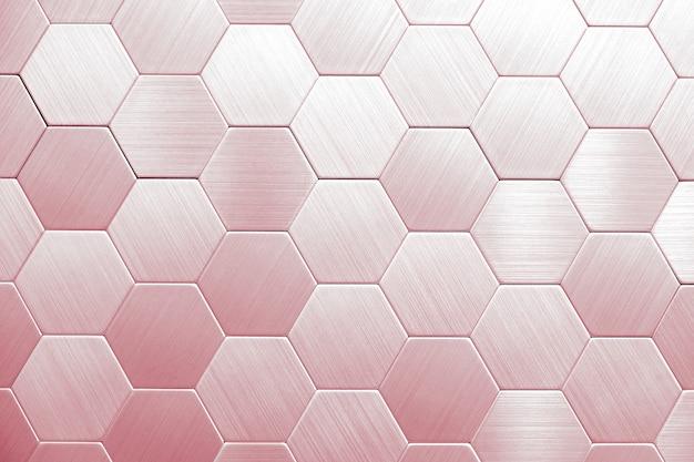 Abstrait en métal argenté. hexagones géométriques. Photo Premium