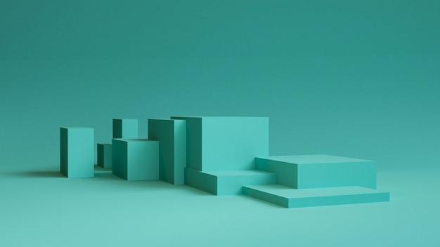 Abstrait minimaliste, figures géométriques primitives, couleurs pastel, rendu 3d. Photo Premium