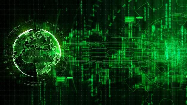 Abstrait numérique hi-tech avec l'équipement de la technologie et l'image de la terre fourni par nasa Photo Premium
