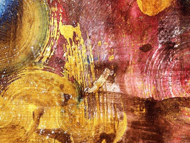 Abstrait De Peinture Acrylique Or De Coup De Pinceau. Photo Premium