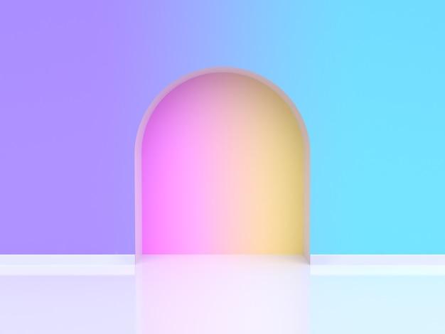 Abstrait Porte Cintrée Dégradé Violet Violet Bleu Rendu 3d Photo Premium