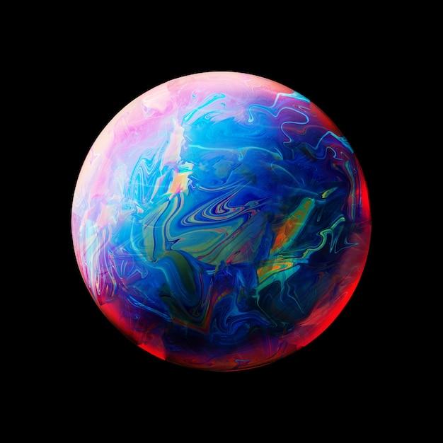 Abstrait avec une sphère bleue rose et jaune Photo gratuit