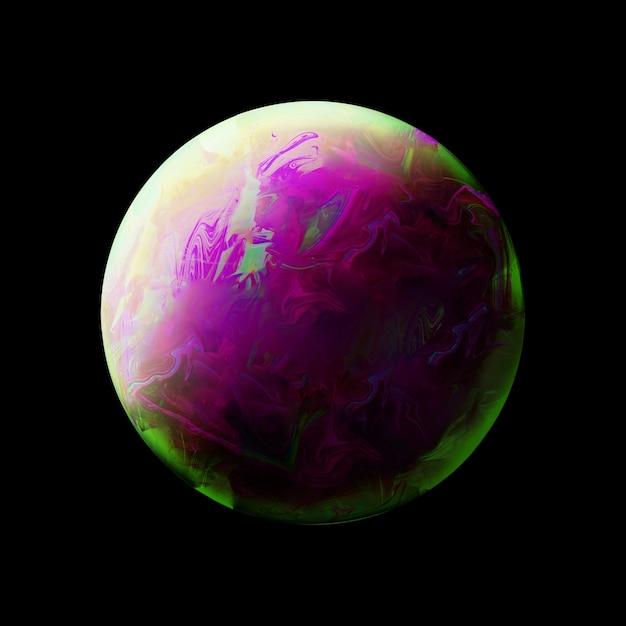 Abstrait avec une sphère verte et violette Photo gratuit