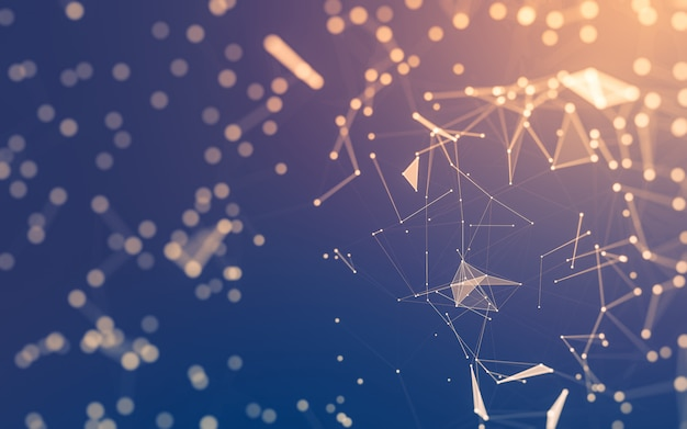 Abstrait technologie des molécules avec des formes polygonales, reliant des points et des lignes Photo Premium