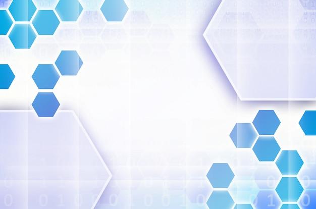 Abstrait technologique bleu et blanc avec des hexagones Photo Premium