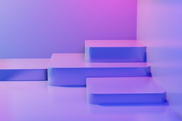 Abstrait Vide Piédestal En Bleu Rose Vibrant Lumière Stade Fond Minimal Pour Le Contenu Actuel Bannière Publicitaire Produit Photo Premium
