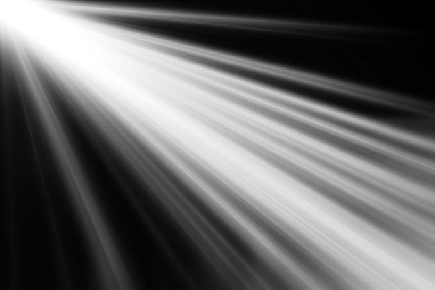 Abstraits beaux faisceaux de lumière, des rayons de lumière superposent l'écran sur fond noir. Photo Premium
