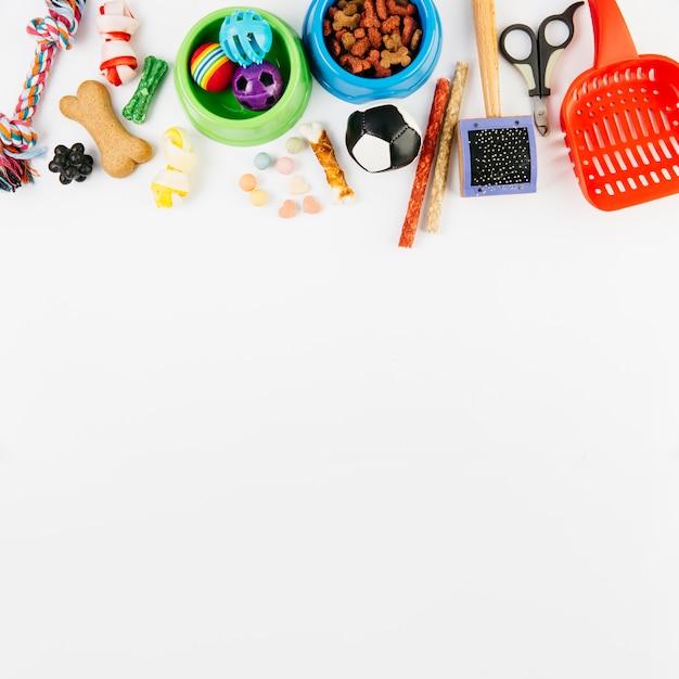 Accessoires Pour Animaux Et Friandises Sur Une Surface Blanche Photo gratuit