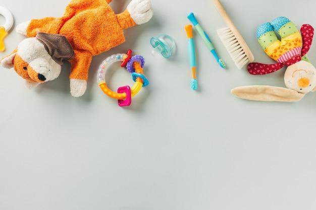 Accessoires De Soins Pour Bébés à Plat Photo Premium