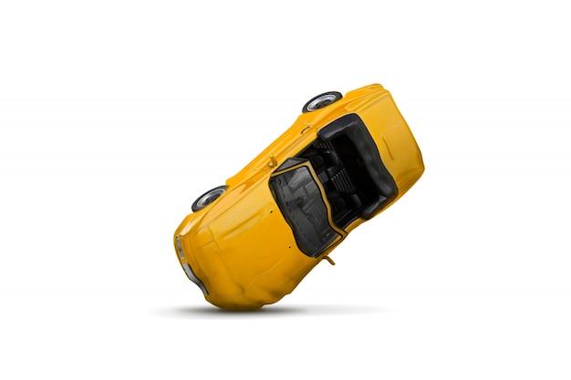 Accident de voiture jaune avec scène de dégâts Photo Premium
