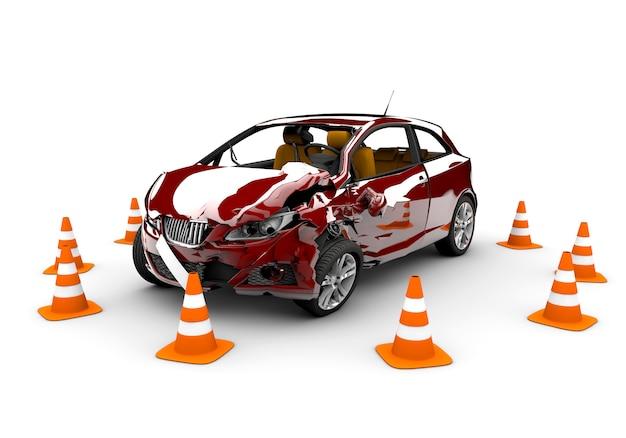 Accident de voiture rouge Photo Premium